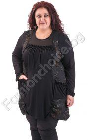 Кокетна макси туника с джобчета в класическо черно