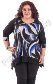 Асиметрична макси блуза със 7/8 ръкав и дантела