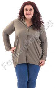 Разкошна риза макси размер с издължена задна част