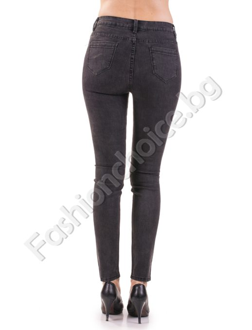 Черни дамски дънки с висока талия-слим модел