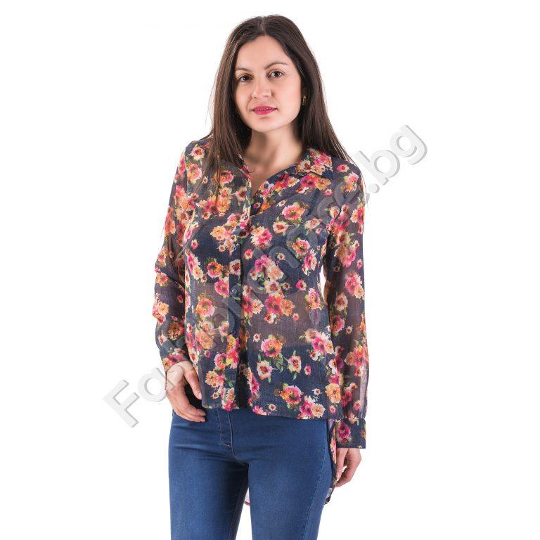 Ефирна дамска риза в два флорални десена