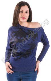 Кокетна дамска блуза с паднало рамо в два цвята