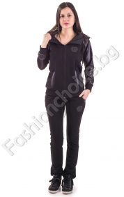 Дамски комплект с ръкави от промазка и качулка