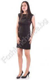 Къса дамска рокля без ръкави в черен цвят