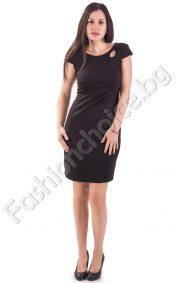 Стилна дамска рокля в два цвята - прав модел