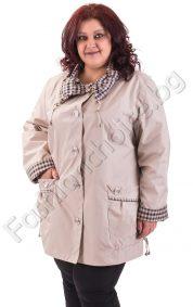Разкошен макси шлифер с голяма карирана яка