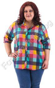 Карирана дамска макси риза в две прелестни разцветки