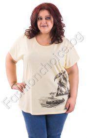 Памучна макси блуза с щампа на екзотичен остров