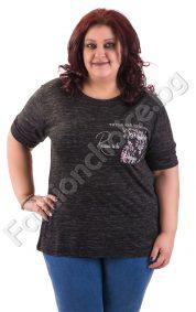 Практична макси блуза с джобче на цветя в черно