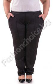 Черен макси панталон тип клин с джобчета и промазка