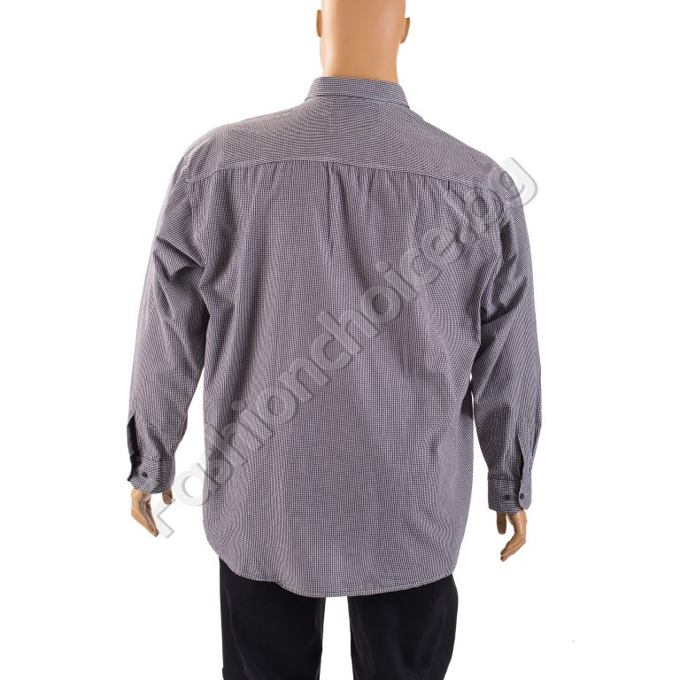 Карирана мъжка макси риза в черен десен