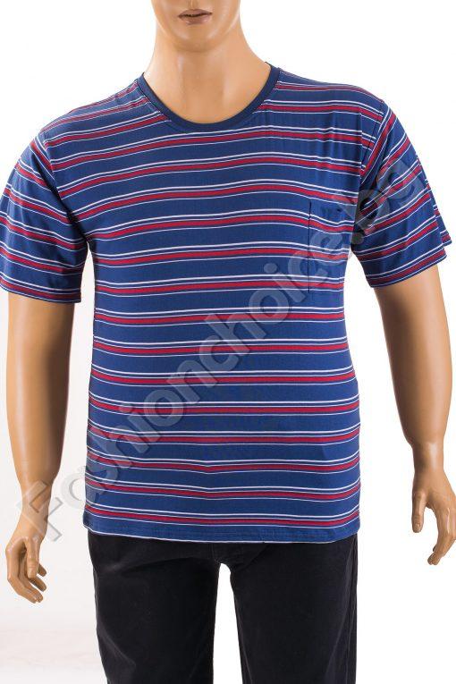 Мъжка макси тениска с джобче на райета