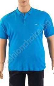 Памучна мъжка макси тениска с копченца в син цвят