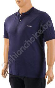 Мъжка макси тениска с копченца и якичка в тъмно синьо