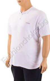 Бяла мъжка макси тениска с копченца и якичка