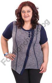 Модерна макси блуза с декоративни копченца