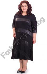 Дълга дамска макси рокля в черно с промазка