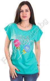 Свежа дамска блуза с щампа Party в 5 актуални десена