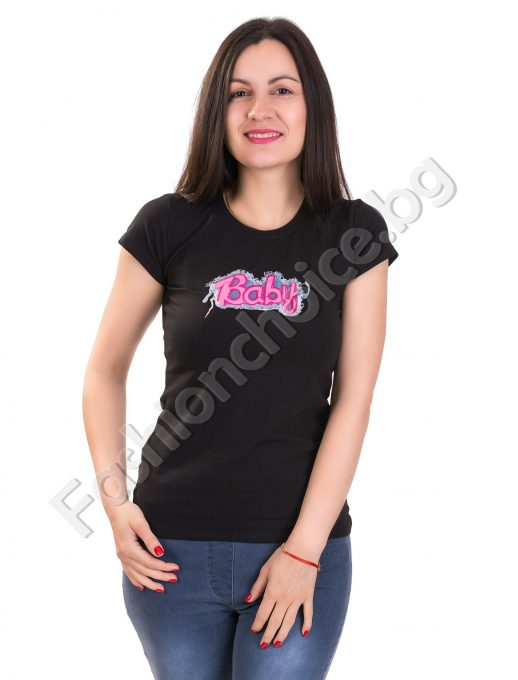 Уникална дамска блуза с дънкова щампа Baby