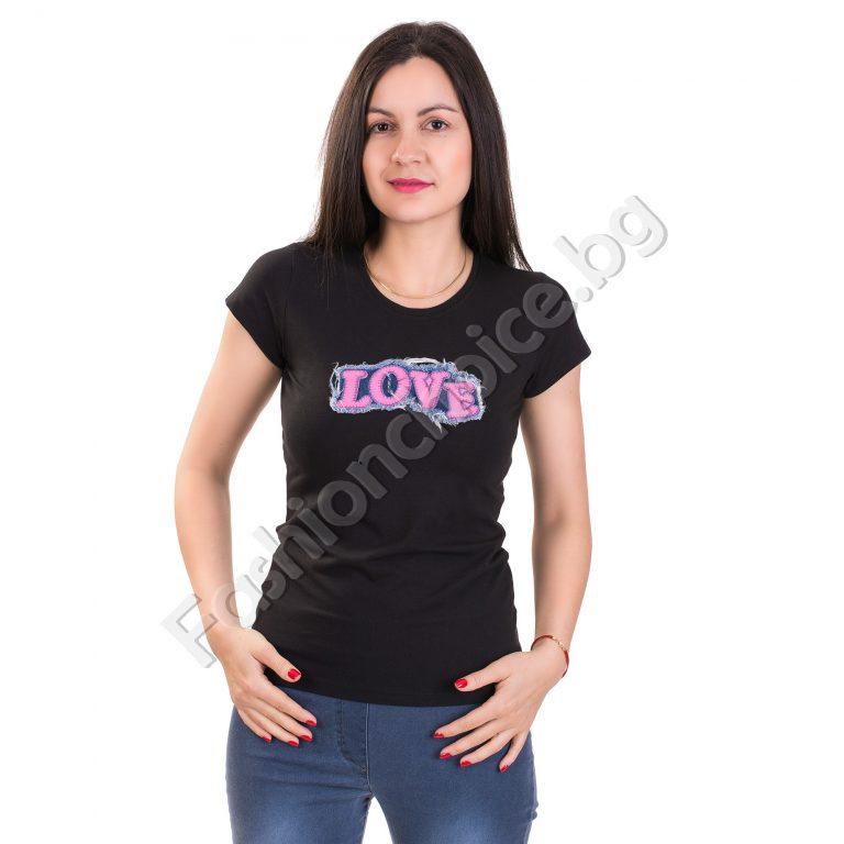 Ефектна дамска блуза с дънкова щампа LOVE