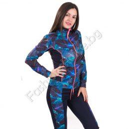 Модерен дамски спортен комплект в тъмно синьо