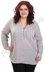 Шикозна макси риза с издължена задна част в два нежни цвята