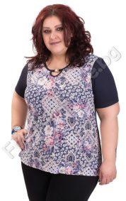 Практична и удобна макси блуза в три десена с перличка