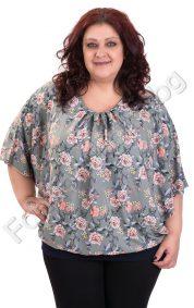 Нежна макси блуза от шифон на малки цветчета