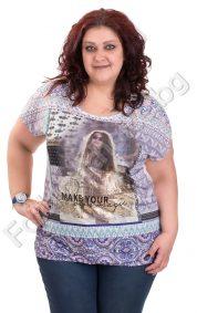 Лека и удобна дамска макси блуза с щампа на жена