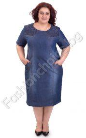 Дънкова лятна макси рокля с дантелени мотиви