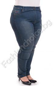 Модерни дамски дънки - прав модел в тъмен деним /макси размер/