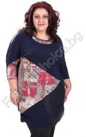 Дълга макси туника с прилеп ръкав и флорални платки