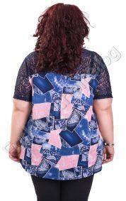 Ефектна дамска блуза с якичка и дантела /макси размер/