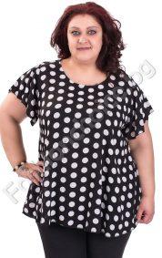 Актуална макси блуза с обло деколте на точки