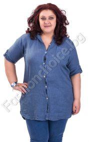 Ленена дамска риза с издължена задна част /макси размер/