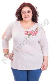 Ефектна макси блуза с цвете и отвори на ръкавите