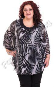 Прелестна макси блуза-тип пончо от нежен шифон