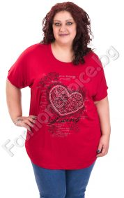 Комфортна макси блуза с голямо сърце и камъчета