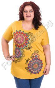 Свежа макси блуза с ярки големи цветя в шест цвята