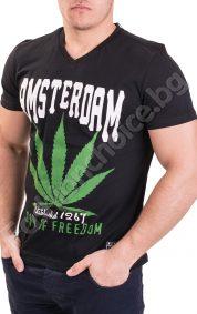 Памучна мъжка тениска ефектна щампа и надпис AMSTERDAM