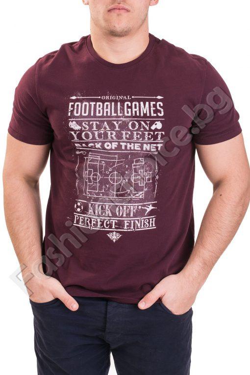 Памучна мъжка тениска с надпис в цвят бордо