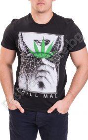 Мъжка тениска с къс ръкав и ефектна щампа в черно