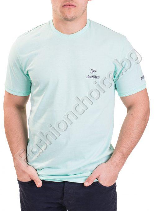 Изчистена мъжка тениска с къс ръкав с малка щампа