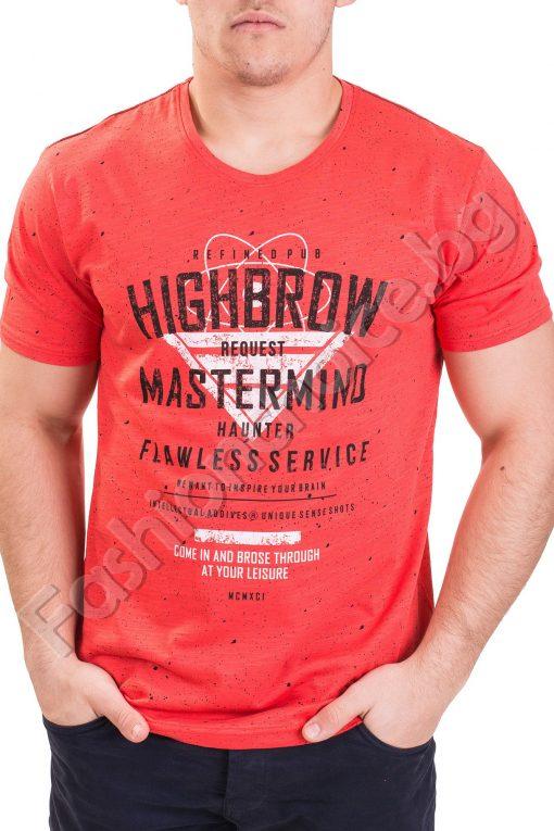 Мъжка тениска с напръскан ефект и надпис в шест цвята