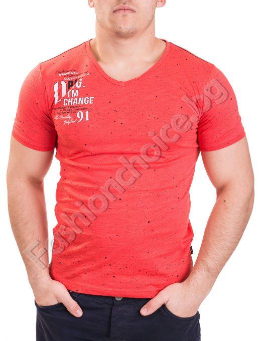 Памучна мъжка тениска с къс ръкав и напръскан ефект