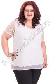 Нежна макси блуза с дантелена горна част в бял цвят