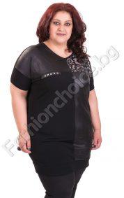 Макси туника в черно с платки от промазка и релефна украса