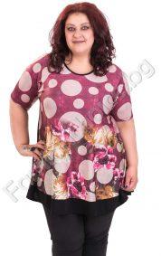 Прекрасна макси блуза на кръгове в три флорални десена