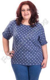 Ленена макси блуза на точки в пет прелестни десена