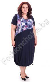 Елегантна макси рокля с обло деколте на розички
